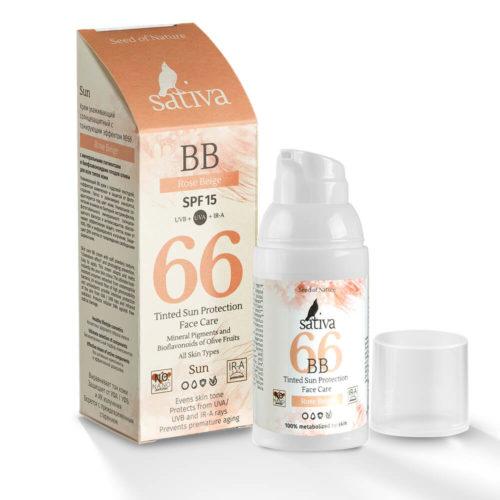 Крем для лица №66 Rose Beige ухаживающий солнцезащитный с тонирующим эффектом SATIVA