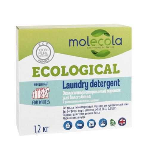 Экологичный концентрированный стиральный порошок для белого белья MOLECOLA