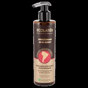 Бальзам для волос кератиновый восстановление и рост Амазонская ягода асаи ECOLATIER