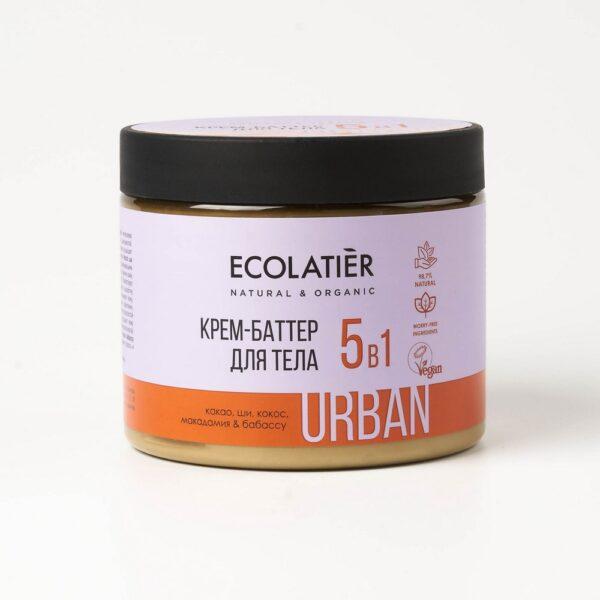 Крем-баттер для тела 5 в 1 какао, ши, кокос, макадамия, бабассу ECOLATIER