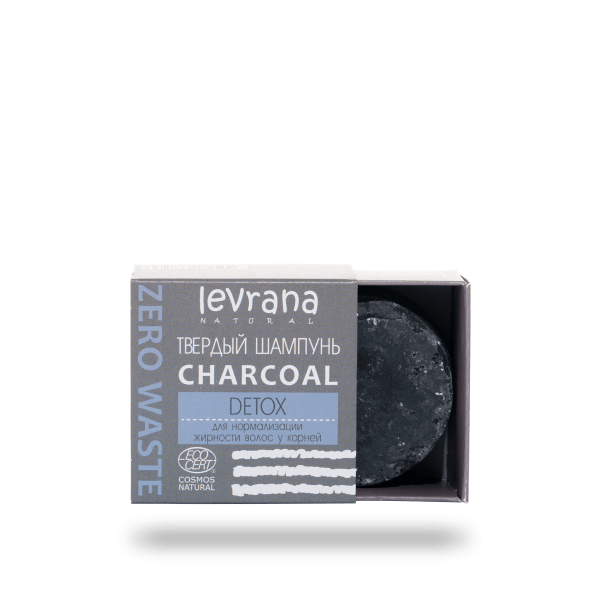 Твердый шампунь Сharcoal детокс для жирных волос LEVRANA